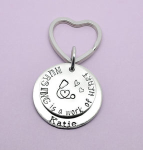 Nurse Keyring, Nurse Keychain, RN Keychain, RN Gift, Nursing Is A Work Of Heart, Nurse Gift, Nurse Quote Keyring, Nursing Graduate Gift