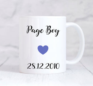 Page Boy Mug, Page Boy Gift, Wedding Thank You Gift, Personalised Wedding Gift, Personalised Mug, Coffee Mug, Tea Mug, Cup