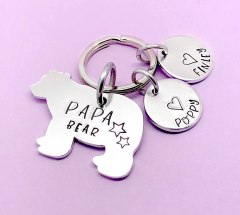 Papa Bear Keyring, Papa Bear Keychain, Papa Bear, Dad Keyring, Personalised Daddy Keyring, Daddy Keychain, Fathers Day Gift, Gift For Dad