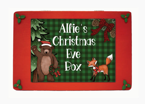 Wooden Personalised Christmas Eve Box, Christmas Eve box, Winter woodland Christmas Eve box, Scandinavian Style Wooden Personalised Christmas Eve Box, Night Before Christmas Box, Christmas Box, Grandchildren, Traditional, kids