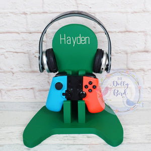 Personalised Wooden Game Controller And Headphone Stand, xbox controller stand, Playstation controller stand, Wooden Game Controller Stand, Personalised Gamer Gift