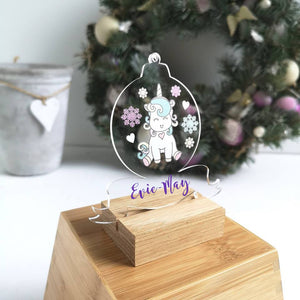 Unicorn Personalised Christmas Tree Bauble, Unicorn Tree Decoration, Girls Christmas Eve Box Filler, Personalised Unicorn Tree Decoration