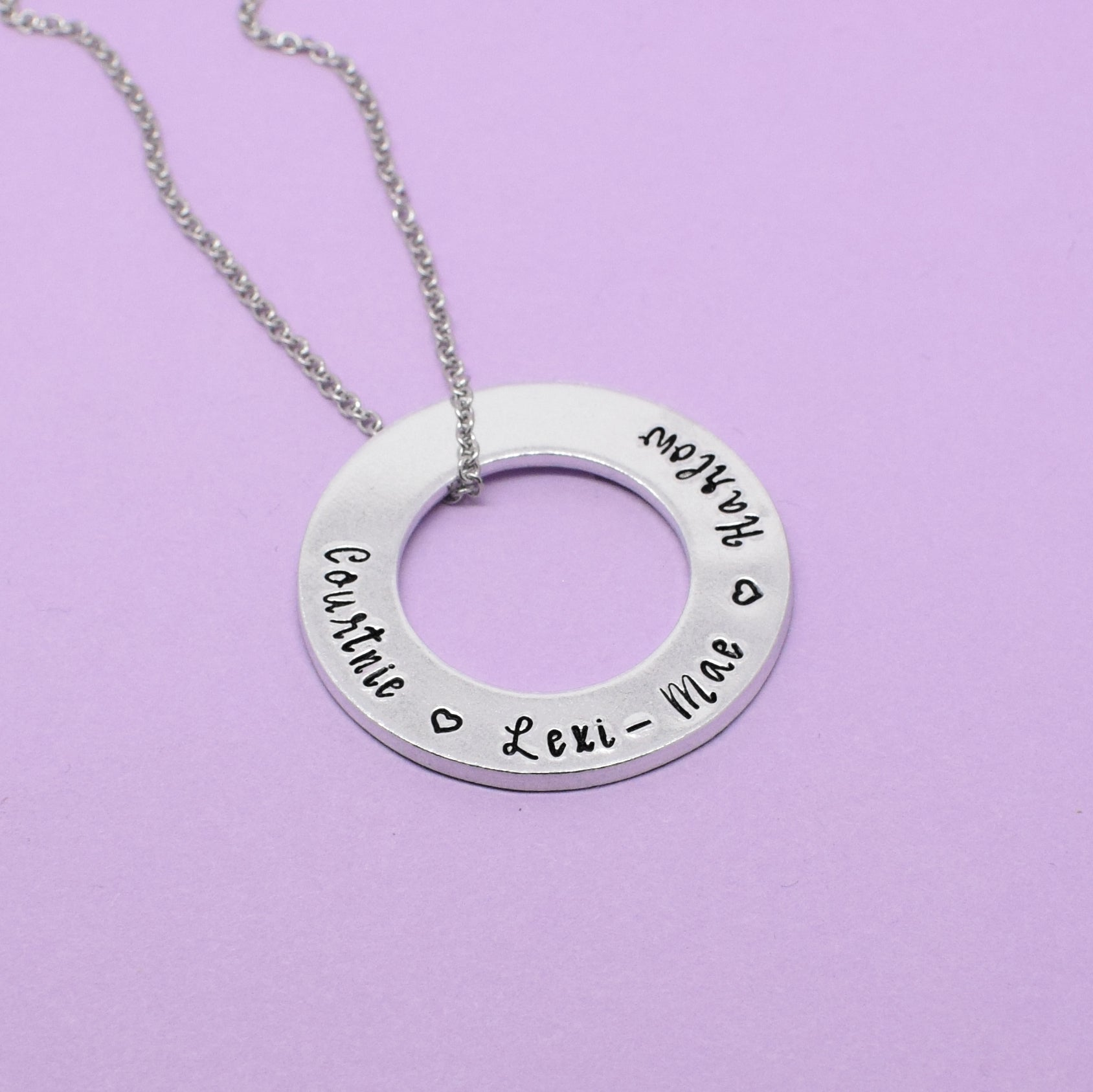 Personalised Name Washer Necklace, Mum Necklace, Personalised Mother Necklace, Name Necklace, Gift For Mum, Mother & Child Necklace
