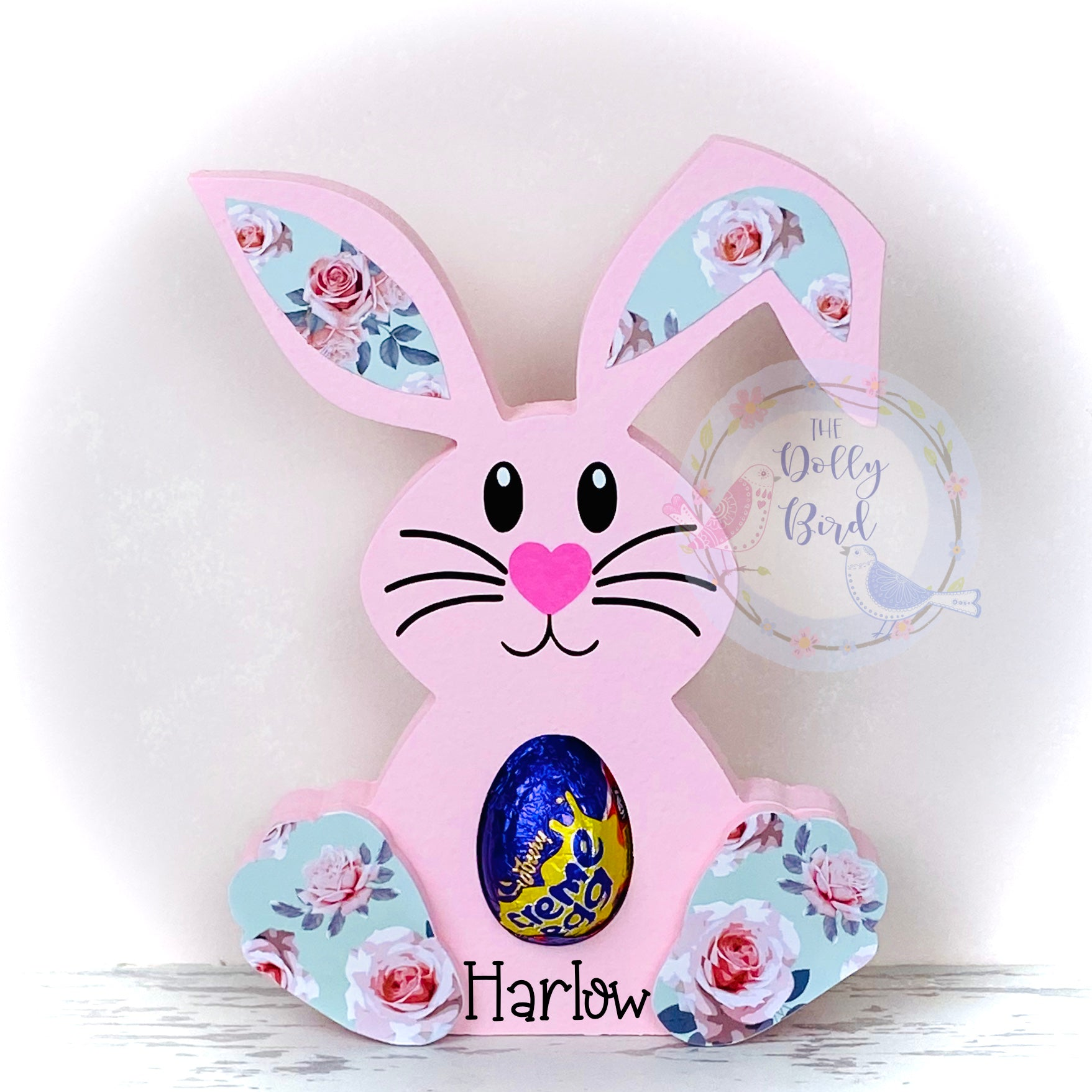 Wooden Bunny Easter egg Holder, Pink Personalised Bunny Kinder Egg Creme Egg Holder, Personalised Easter egg Gift, Bunny Egg Holder, Easter