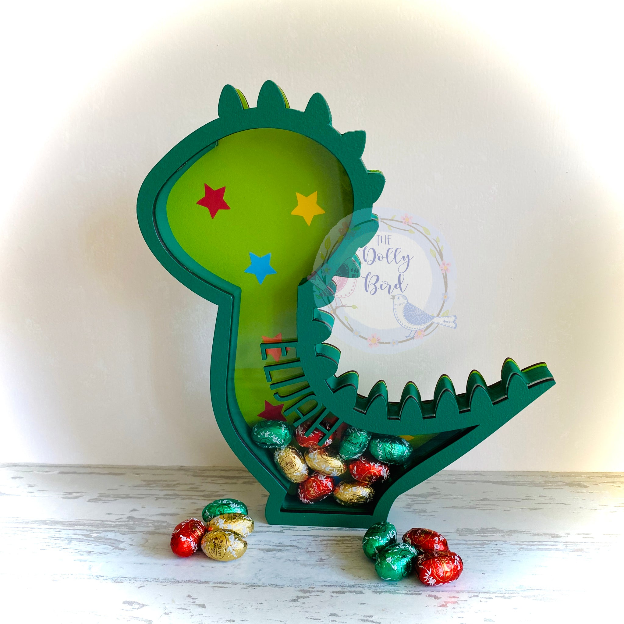 Personalised Fillable Dinosaur Easter egg Holder, Dinosaur Christmas Fillable Box, Childrens Easter Gift, Wooden Egg Holder, Personalised Money box