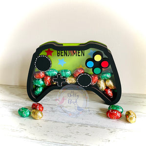 Personalised Fillable Game Controller Easter egg Holder, Game Controller Christmas Fillable Box, Childrens Easter Gift, Wooden Egg Holder, Personalised Money box, Gamer Gift