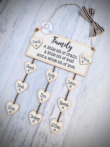 Personalised Family Quote Wooden Hanging Plaque