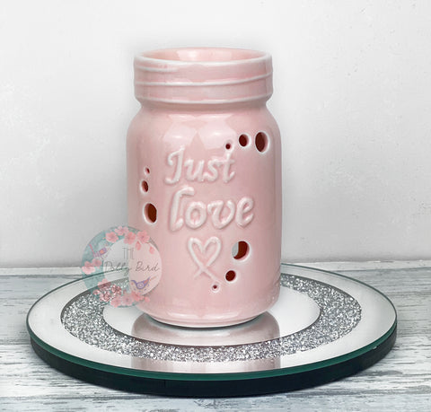 Light Pink Mason Jar Style Ceramic Wax Burner, Light Pink Wax Melt Burner, Mason Jar Home Decor, Modern Wax Burner, Pink Wax Melter, Pink Home Decor Mason Jar Style Ceramic Wax Burner, Pink Wax Melt Burner, Mason Jar Home Decor, Modern Wax Burner, Pink Wax Melter, Pink Home Decor