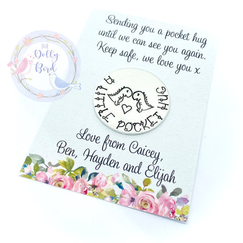 Pocket Hug Stamped Keepsake - Dinosaur Hugs,  Personalised Pocket Hug, Travel Gift, Travel Pocket Hug