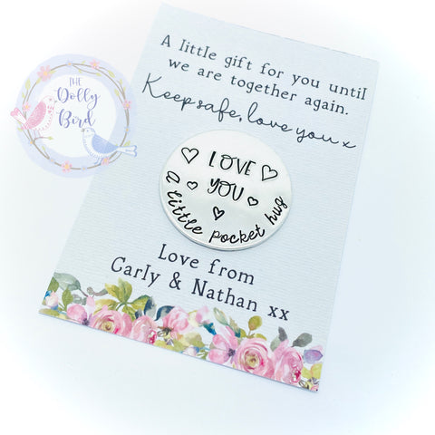 Pocket Hug Stamped Keepsake - Love You, Personalised Pocket Hug, Travel Gift, Travel Pocket Hug