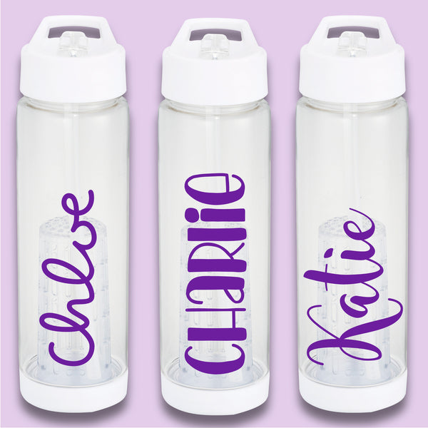 Personalised White Water Bottle with removable fruit infuser