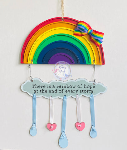 Rainbow Quote Wooden Sign, Rainbow Sign, Stay Safe Rainbow, Rainbow Gift, Thank You Rainbow, New Baby Gift, Rainbow Baby Gift, Miss You Gift, Rainbow Of Hope Sign