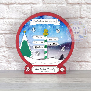 Personalised Wooden Freestanding Christmas Family Snowglobe Decoration, Personalised Family Christmas Decoration, Santa Please Stop Here, Red Christmas Decor, Red Christmas Decor