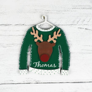 wooden reindeer name jumper tree decoration