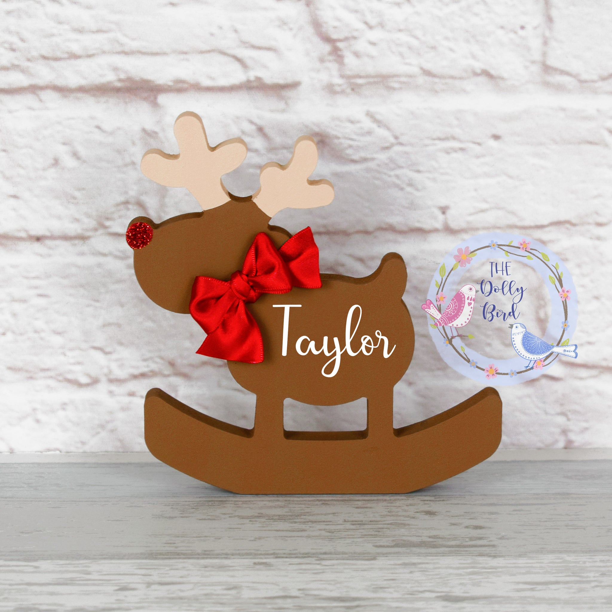 Personalised Wooden Reindeer Christmas Decoration, Reindeer Decoration, Freestanding Personalised Reindeer, Personalised Christmas ornament