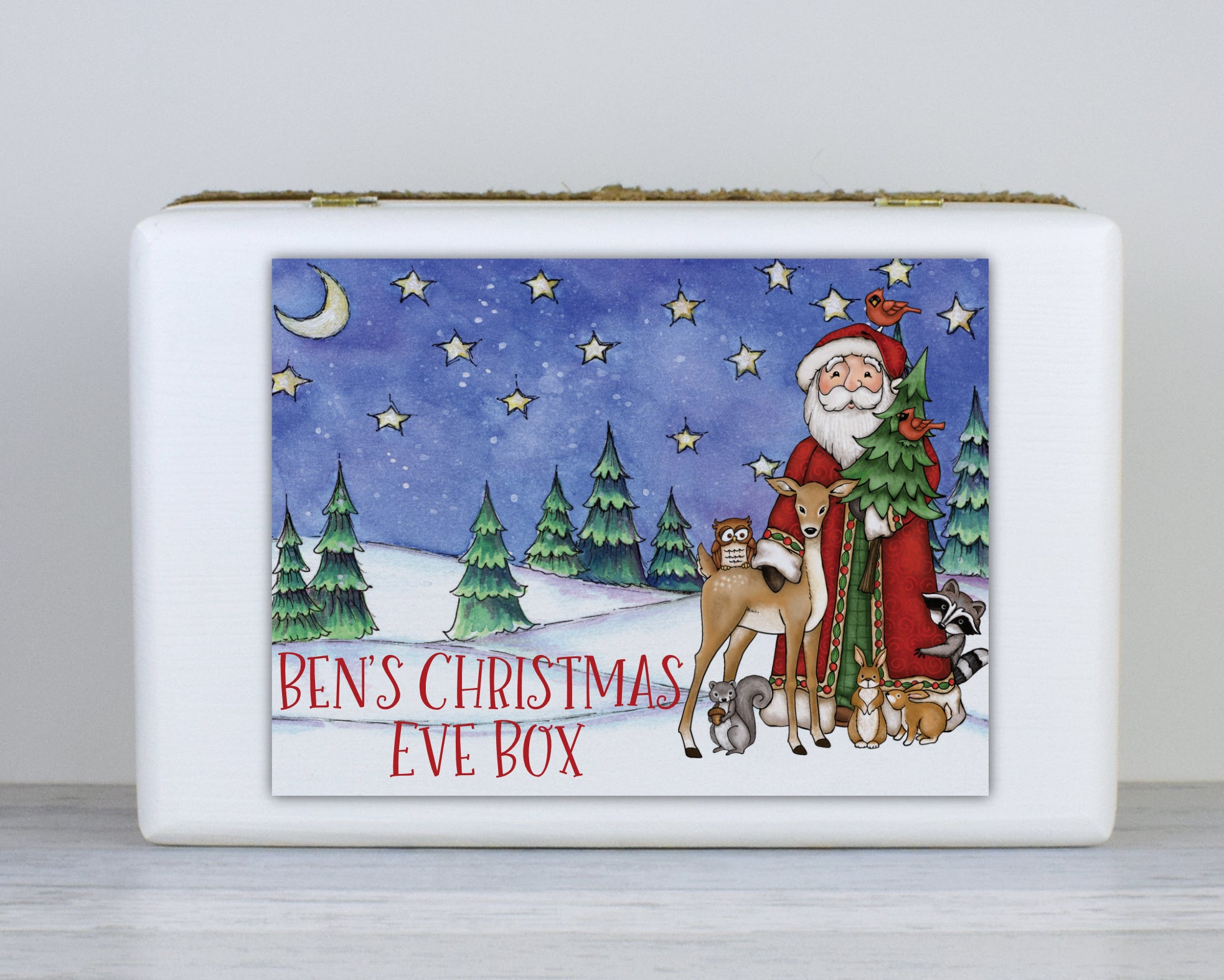 Wooden Personalised Christmas Eve Box, Christmas Eve box, Scandinavian Style Wooden Personalised Christmas Eve Box, Night Before Christmas Box, Rustic Christmas Box, Grandchildren, Traditional, kids