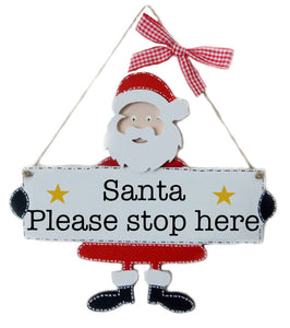 Santa Stop Here Sign, Santa Stop Here Plaque,Wooden Santa Sign, Father Christmas, Christmas Decoration, Rustic Christmas,