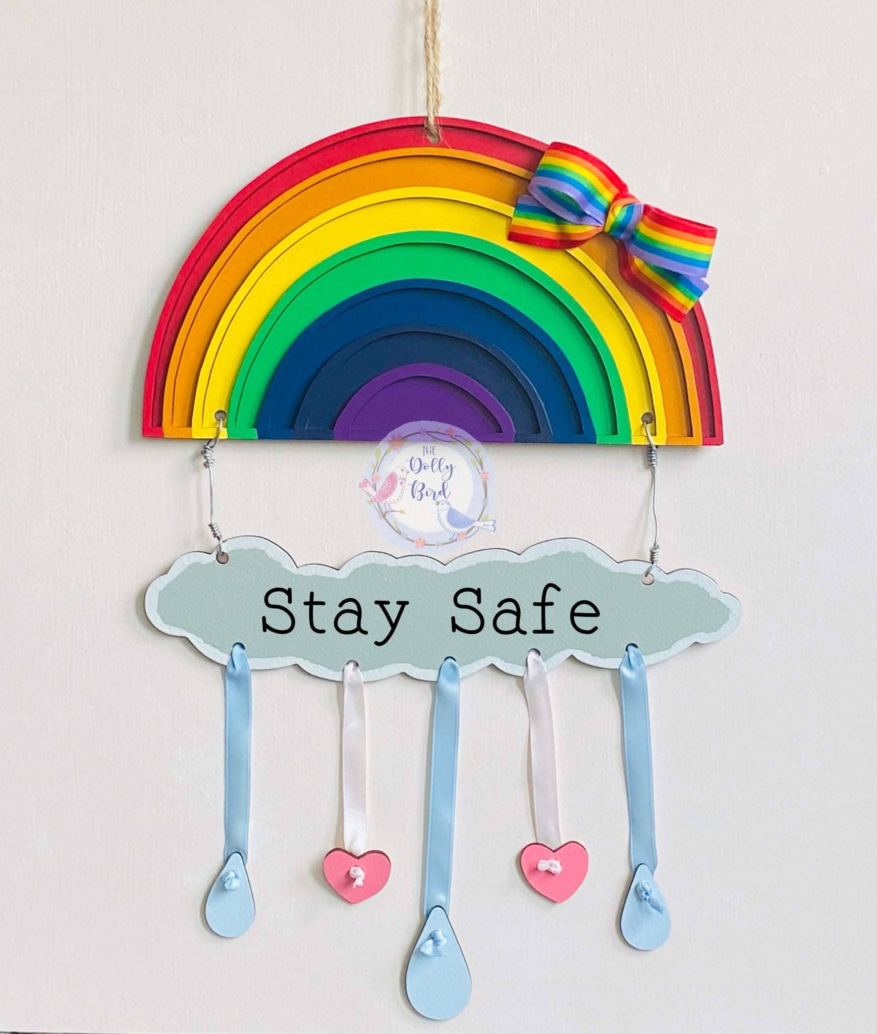 Rainbow Quote Wooden Sign, Rainbow Sign, Stay Safe Rainbow, Rainbow Gift, Thank You Rainbow, New Baby Gift, Rainbow Baby Gift, Miss You Gift