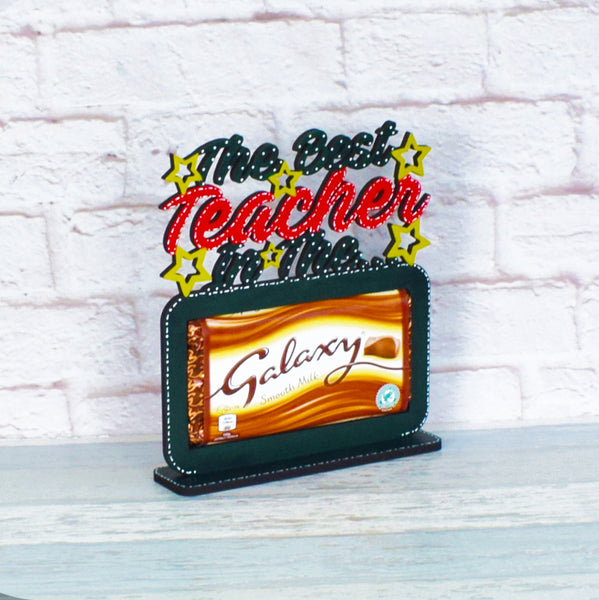 Best Teacher In The Galaxy Plaque with Chocolate, Teacher Plaque, Teacher Chocolate Gift, End Of Term Gift, Teacher Christmas Gift, Wooden