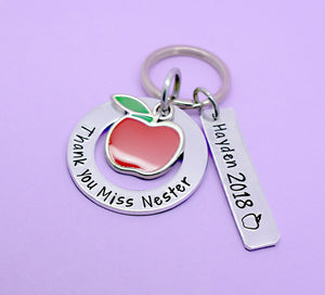 Teacher Gift, Personalised Teacher Gift, Teacher Keyring, Gift for Teachers, Thank You Gift, Teaching Assistant Keyworker, Hand Stamped