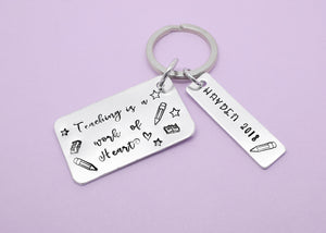 Teaching is a work of heart personalised hand stamped keyring, Teacher Gift, Personalised Teacher Gift, Teacher Keyring, Gift for Teachers, Thank You Gift, Teaching Assistant Keyworker, Hand Stamped, Personalised Teacher Gift, Thank You Teacher, Teacher Keyring Keychain, Hand Stamped, Teaching Assistant Key Worker Gift, End Of Term Gift