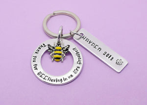 Teacher Gift, Personalised Teacher Gift, Teacher Keyring, Gift for Teachers, Thank You For Believing In Me, Teaching Assistant Keyworker