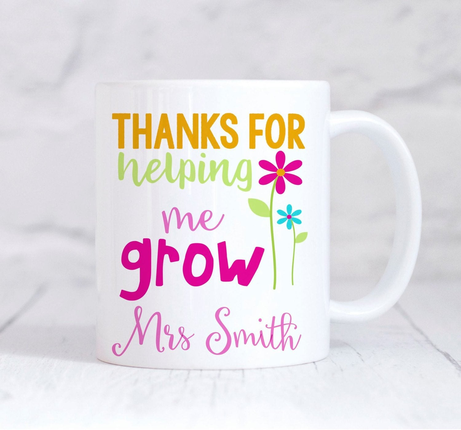 Teacher Mug, Personalised Teacher Mug, Teacher Gift, Thanks For helping Me Grow, End Of Term gift, Thank You Teacher, Teaching Assistant