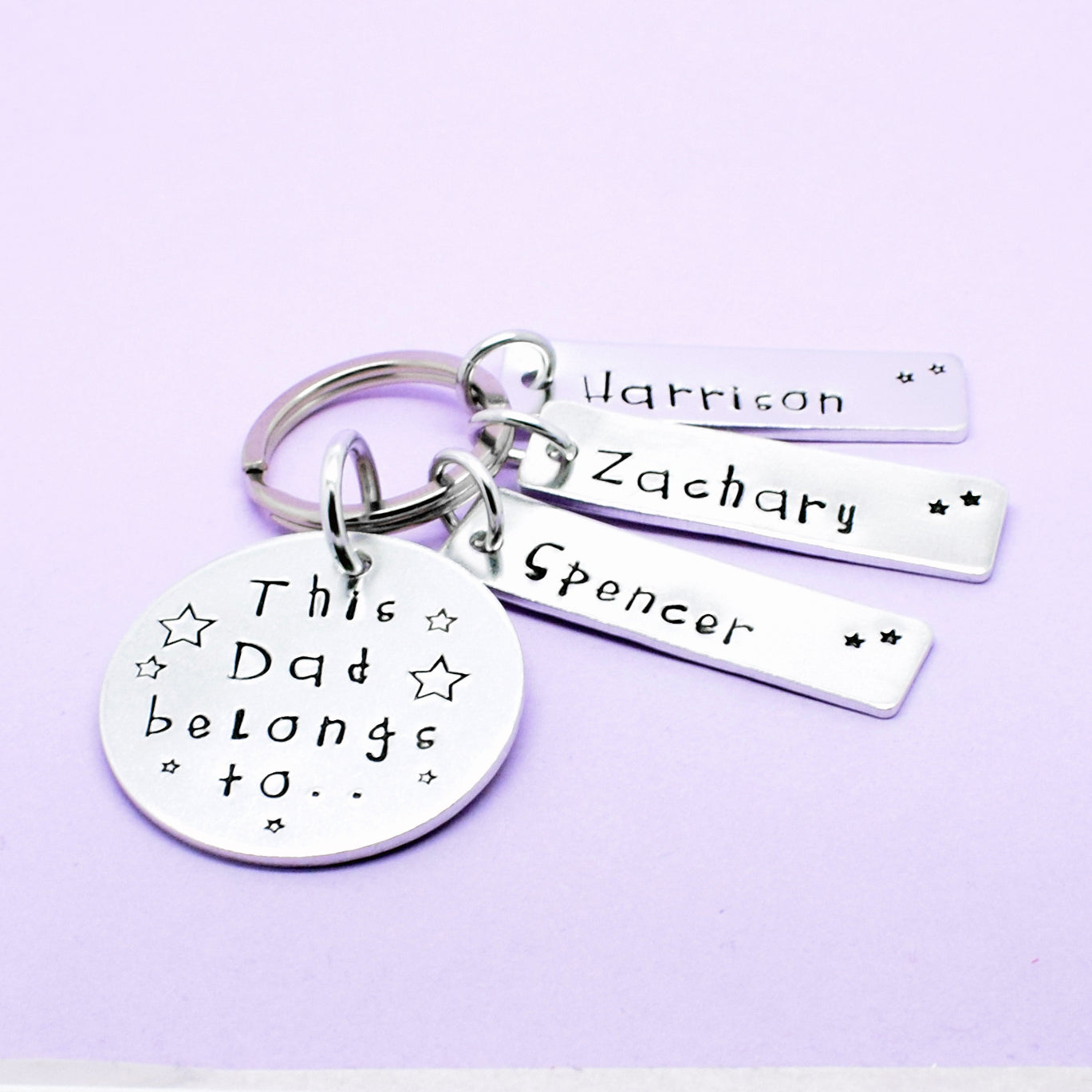 Personalised Dad Daddy Keyring, This Dad Belongs To Hand Stamped Personalised Keyring, Personalised Fathers Day, Gift For Dad, Keychain