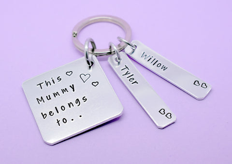 This Mummy Belongs To Keyring,  Mum Mom Mummy Stepmum Keyring, Personalised Mum Gift, Personalised Mothers Day, Gift For Mum, Keychain
