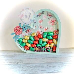Personalised Fillable Floral Heart Easter egg Holder, Girls Shabby Chic Christmas Fillable Box, Childrens Easter Gift, Wooden Egg Holder, Personalised Money box