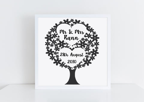 Personalised Wedding Tree vinyl cut framed picture