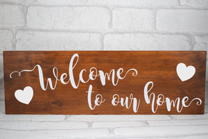 Welcome To Our Home Sign, Family Welcome Plaque, New Home Gift, Wedding Gift, Rustic Home Sign, House Warming Gift
