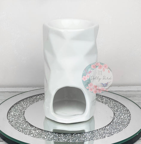 Modern Abstract Style White Ceramic Wax Burner, White Wax Melt Burner, White Home Decor, Gloss Wax Burner