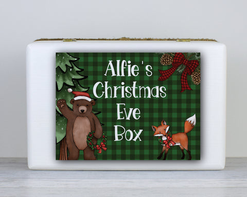 Wooden Personalised Christmas Eve Box, Christmas Eve box, Winter woodland Christmas Eve box, Scandinavian Style Wooden Personalised Christmas Eve Box, Night Before Christmas Box, Rustic Christmas Box, Grandchildren, Traditional, kids