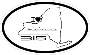 """I Love Baldwinsville 315"" Decal"