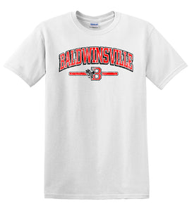 """Baldwinsville"" Distressed Logo White T-Shirt"
