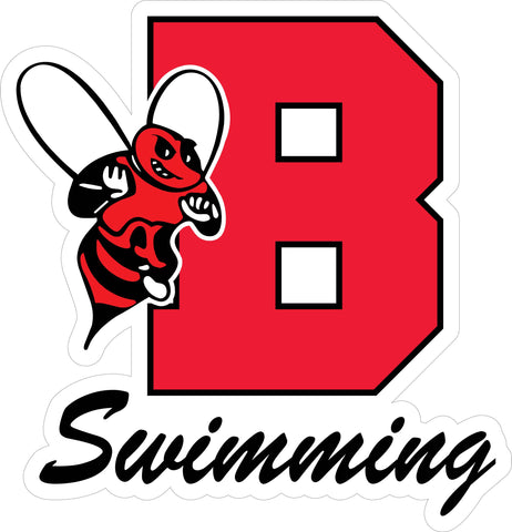 """B Swimming"" Varsity & Cursive Font Decal"