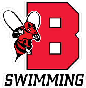 """B Swimming"" Varsity & Plain Font Decal"