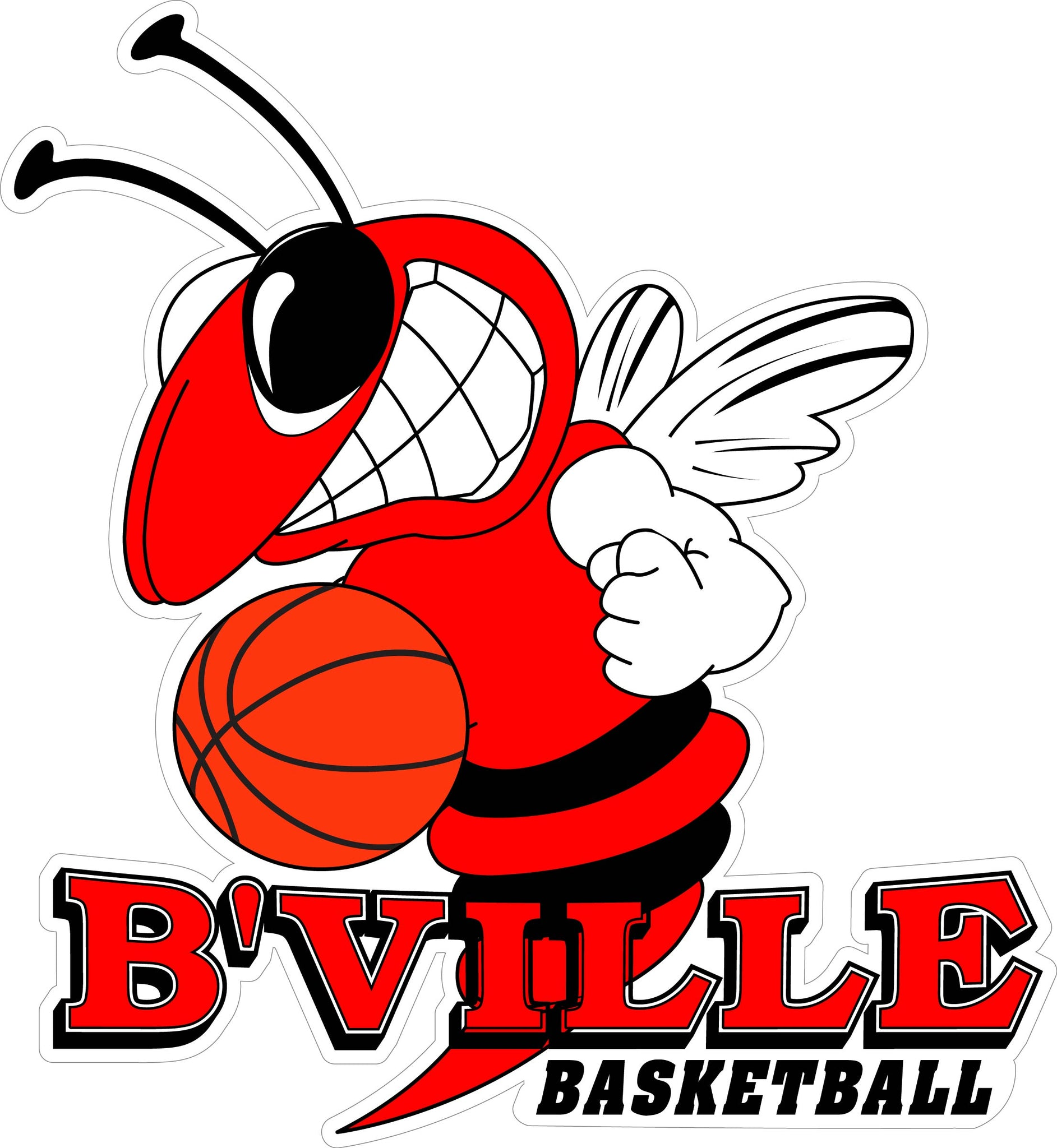 """B'ville Basketball"" Bee & Basketball Decal"