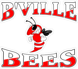 """B'Ville Bees"" Red Decal"