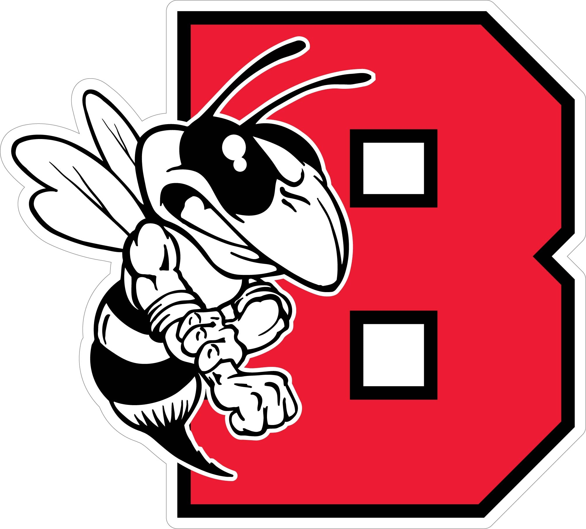 "Red Varsity ""B"" with Bee Decal"
