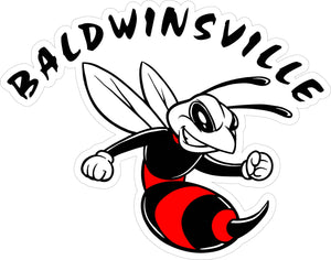 """Baldwinsville"" Bee Decal in Black & Red"