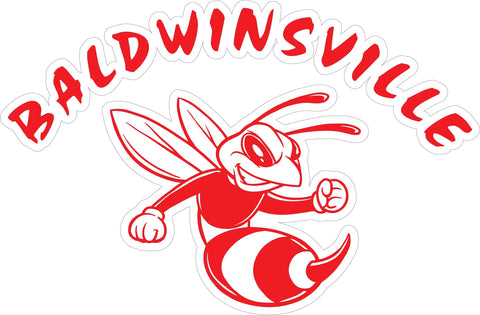 """Baldwinsville"" Bee in Red Decal"