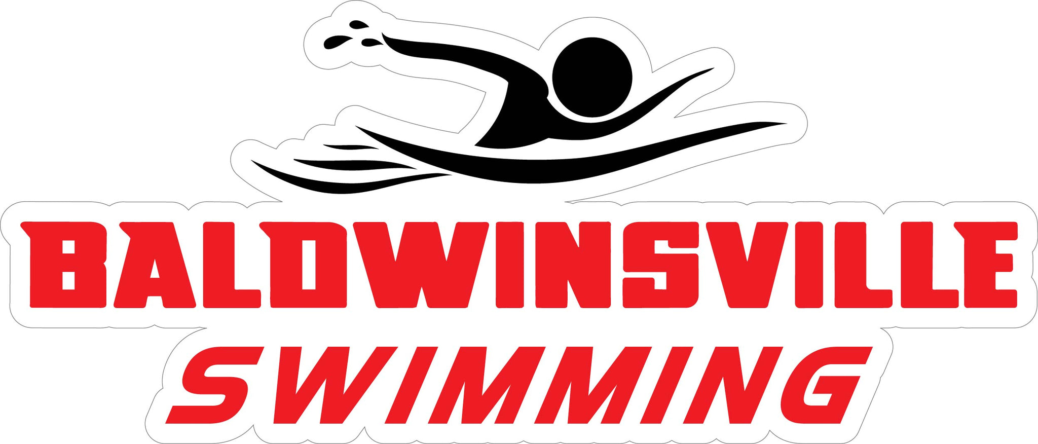 """Baldwinsville Swimming"" Red Lettering Decal"