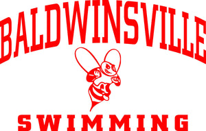 """Baldwinsville Swimming"" Varsity Font & Bee Decal"