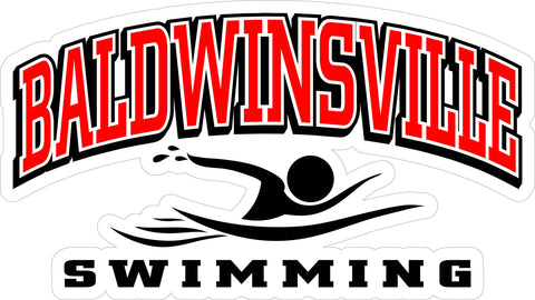 """BALDWINSVILLE Swimming"" Varsity Font & Swimmer Decal"