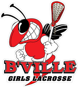 """B'VILLE Girls Lacrosse"" Bee & Lax Stick Decal"