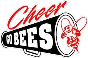 """GO BEES"" Cheer Megaphone Decal"