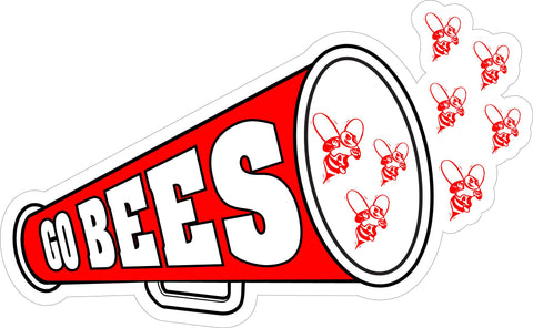 """GO BEES"" Red Megaphone Decal"