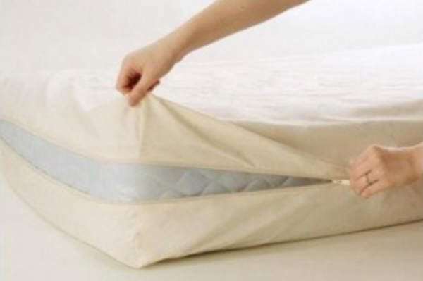 "Organic Cotton Zipper Barrier Cover for Mattresses (10-13"")"